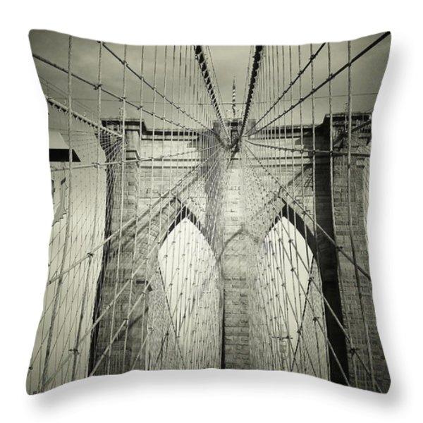 The Brooklyn Bridge Throw Pillow by Vivienne Gucwa
