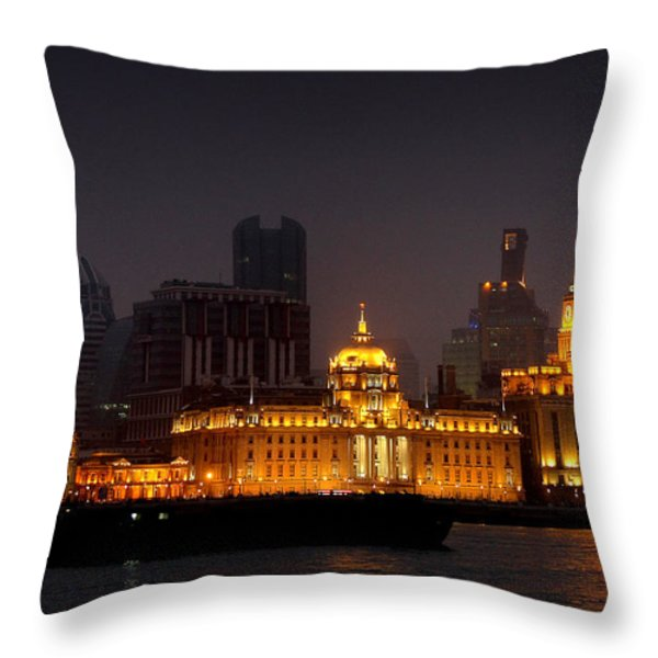 The Bund - More than Shanghai's most beautiful landmark Throw Pillow by Christine Till