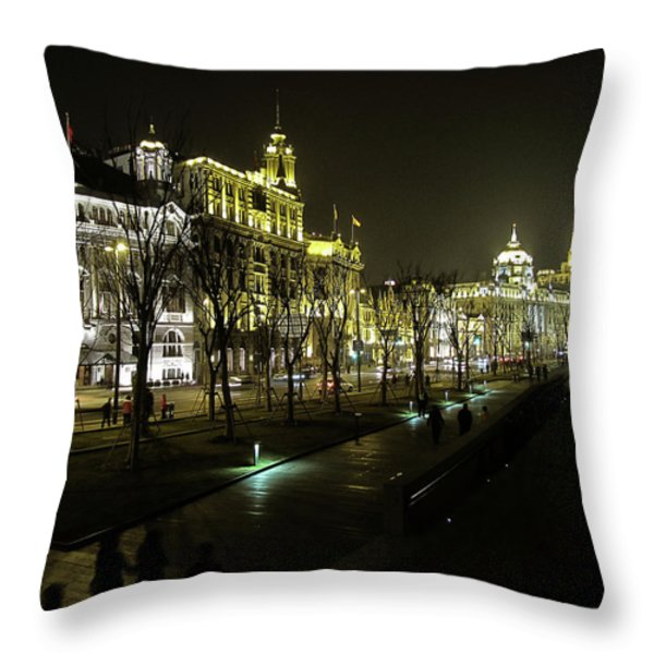 The Bund - Shanghai's famous waterfront Throw Pillow by Christine Till