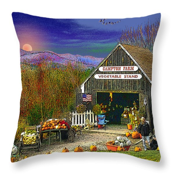The Campton Farm Throw Pillow by Nancy Griswold