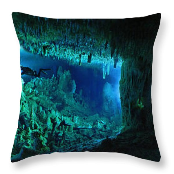 The Cascade Room Leads Divers Deeper Throw Pillow by Wes C. Skiles