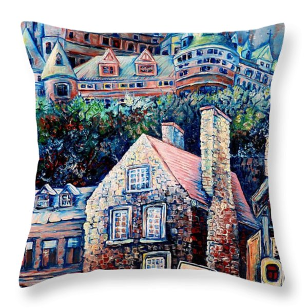THE CHATEAU FRONTENAC Throw Pillow by CAROLE SPANDAU
