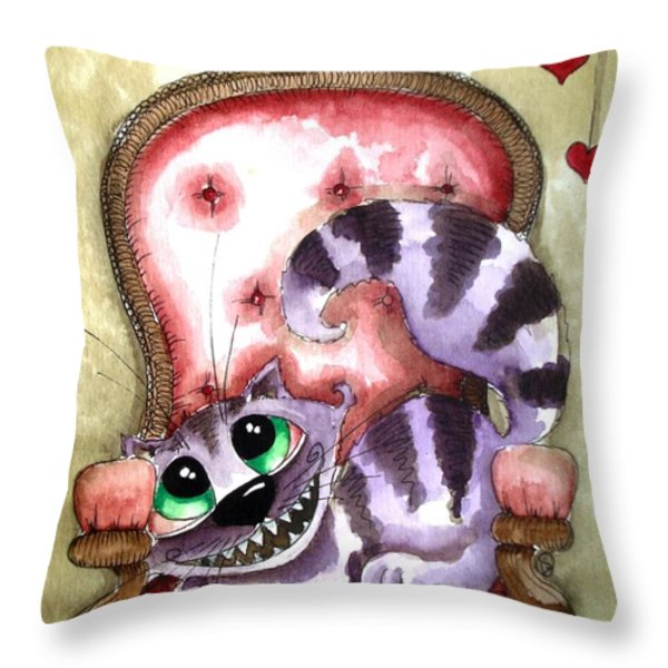The Cheshire Cat - Lovely Sofa Throw Pillow by Lucia Stewart