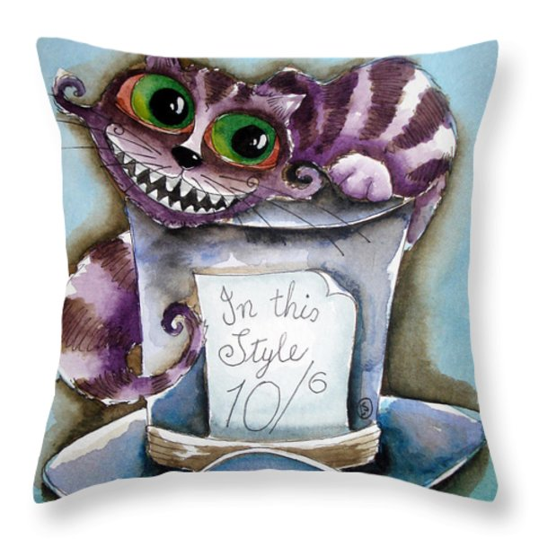The Chesire Cat Throw Pillow by Lucia Stewart