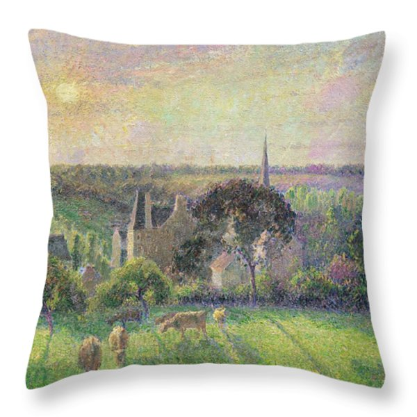 The Church And Farm Of Eragny Throw Pillow by Camille Pissarro