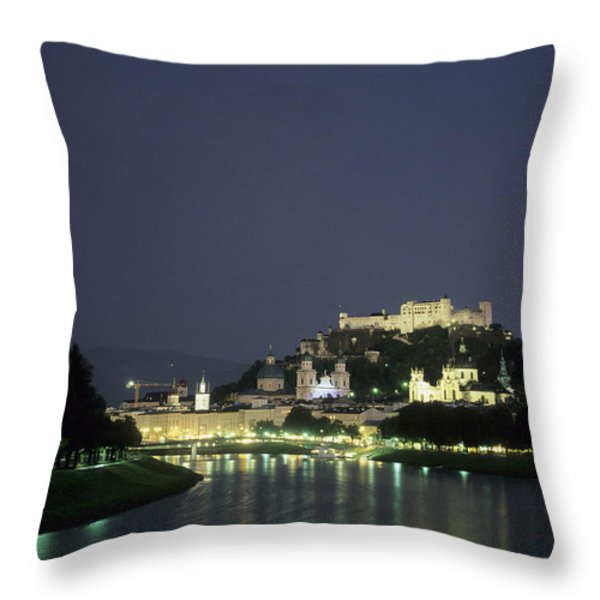The City Is Illuminated At Night Throw Pillow by Taylor S. Kennedy