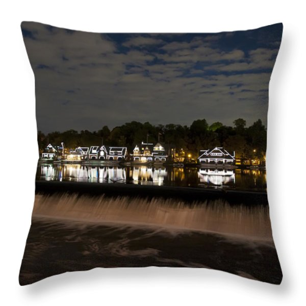 The Colorful Lights Of Boathouse Row Throw Pillow by Bill Cannon