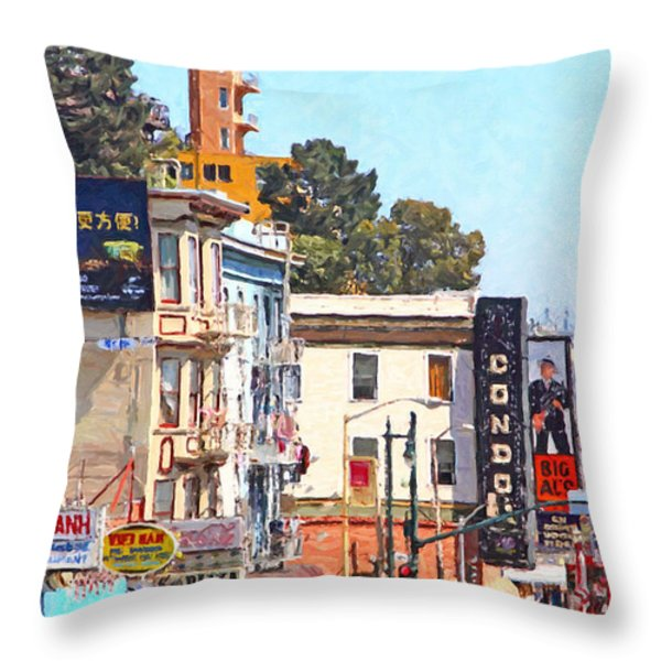 The Condor On Broadway And Columbus Street In San Francisco Throw Pillow by Wingsdomain Art and Photography