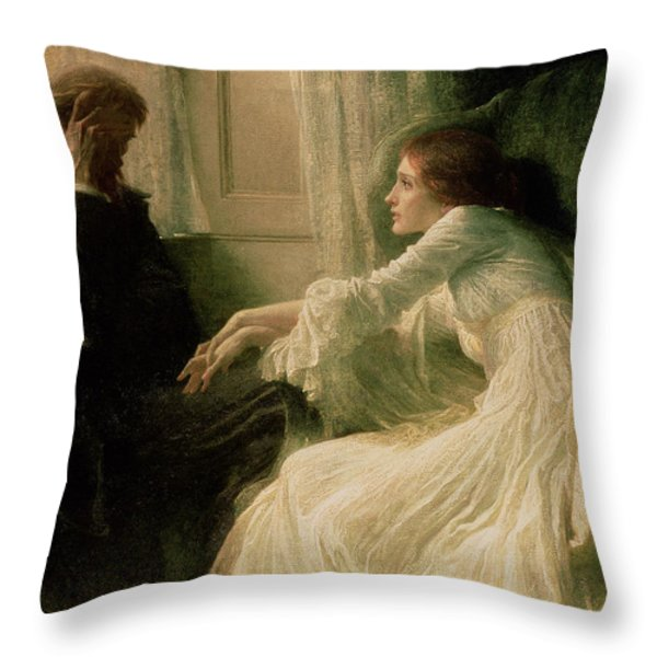 The Confession Throw Pillow by Sir Frank Dicksee