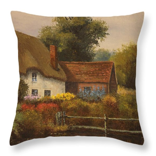 The Country Cottage Throw Pillow by Sean Conlon