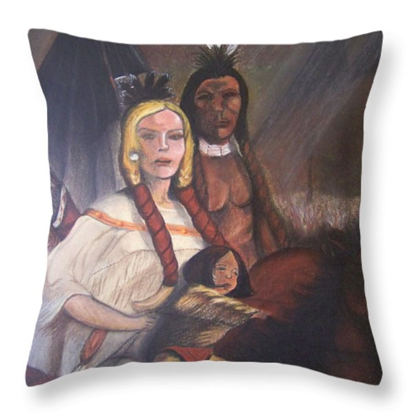 The Cynthia Ann Parker Family Throw Pillow by Laurie Kidd