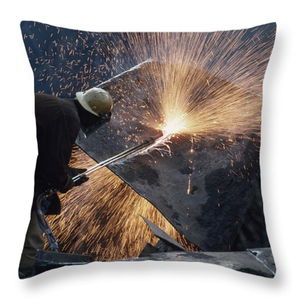 The Destruction Of A Steel Mill Throw Pillow by Lynn Johnson