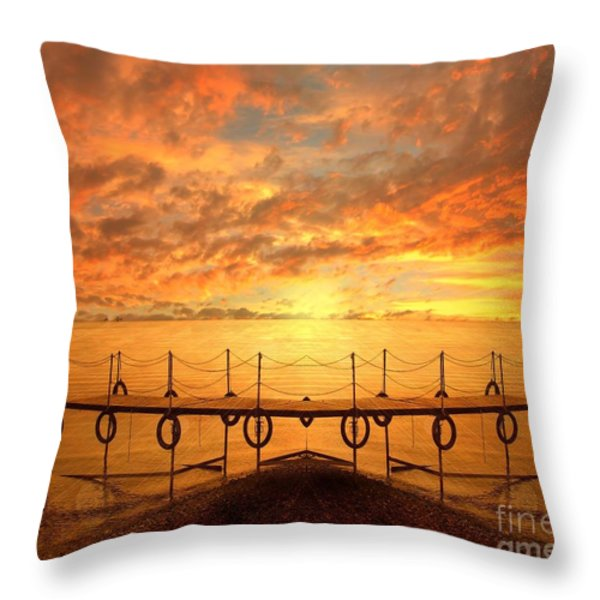 The Dock Throw Pillow by Photodream Art