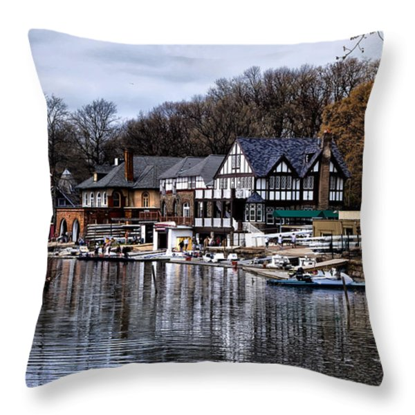 The Docks at Boathouse Row - Philadelphia Throw Pillow by Bill Cannon