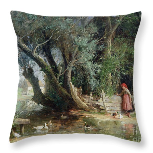 The Duck Pond Throw Pillow by Eduard Heinel