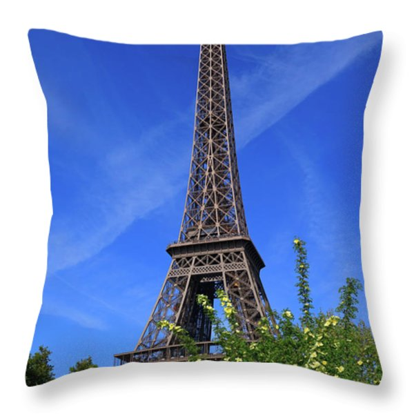 The Eiffel Tower in Spring Throw Pillow by Louise Heusinkveld