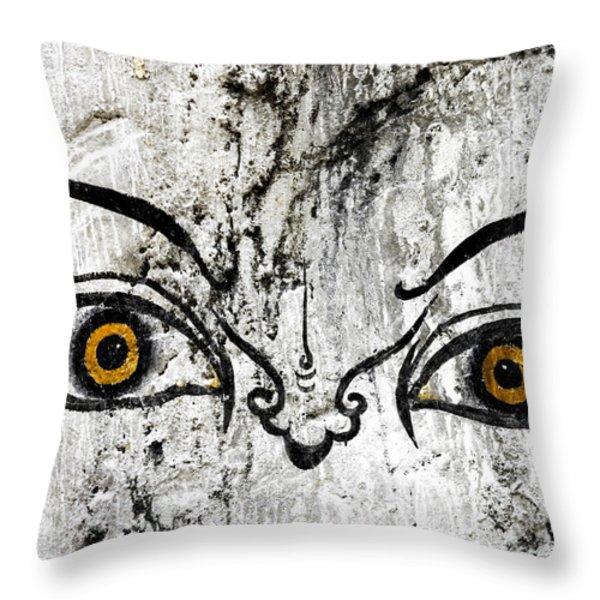 The Eyes Of Guru Rimpoche  Throw Pillow by Fabrizio Troiani