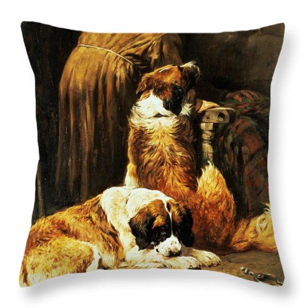 The Faith Of Saint Bernard Throw Pillow by John Emms