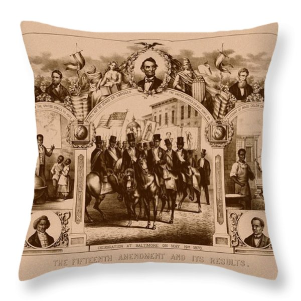 The Fifteenth Amendment And Its Results Throw Pillow by War Is Hell Store