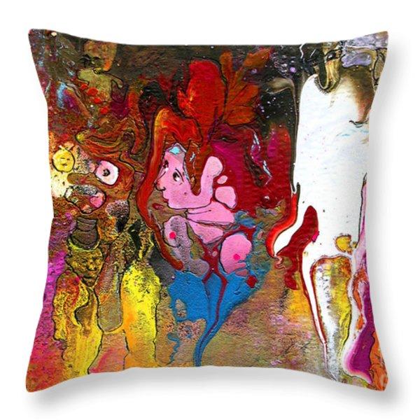 The First Wedding Throw Pillow by Miki De Goodaboom