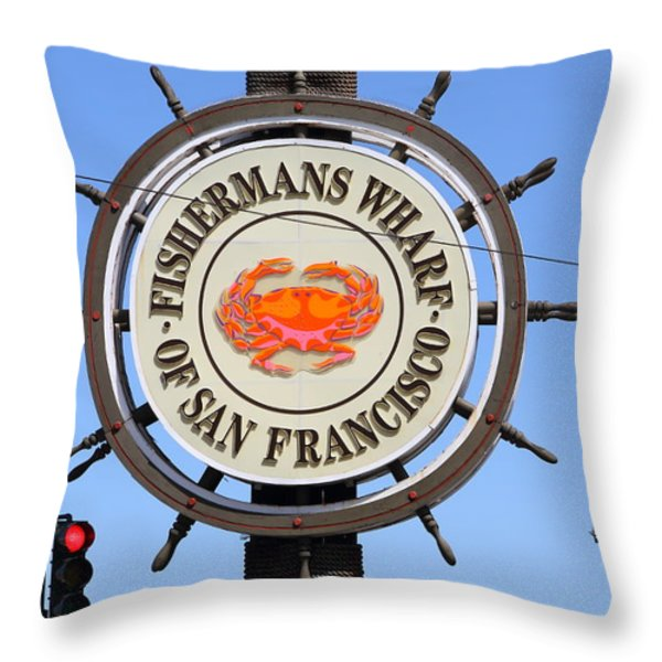 The Fishermans Wharf Sign . San Francisco California . 7d14228 Throw Pillow by Wingsdomain Art and Photography