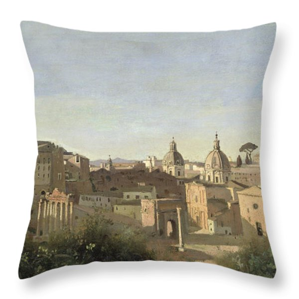The Forum Seen From The Farnese Gardens Throw Pillow by Jean Baptiste Camille Corot