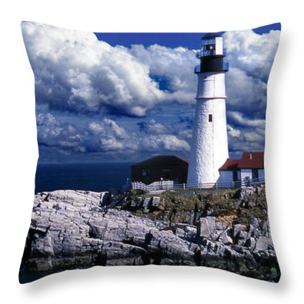 THE FRONT AT PORTLAND HEAD Throw Pillow by Skip Willits