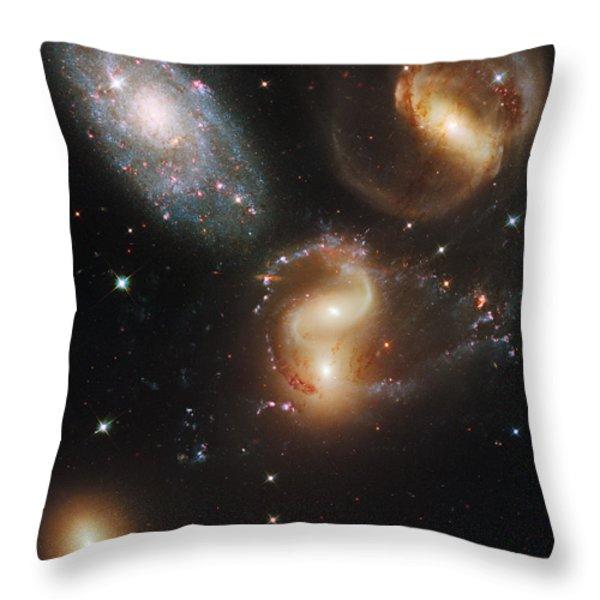 The Galaxies Of Stephans Quintet Throw Pillow by Nasa/Esa