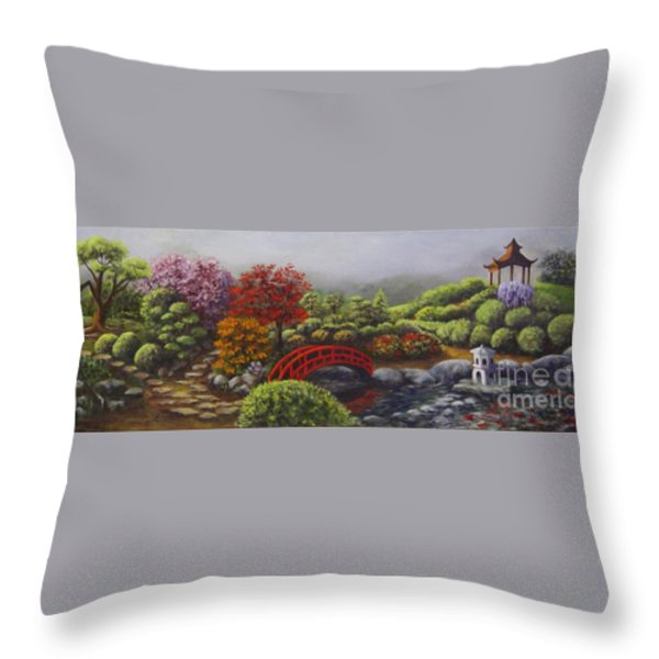 The Garden Of Koan Throw Pillow by Laurie Golden