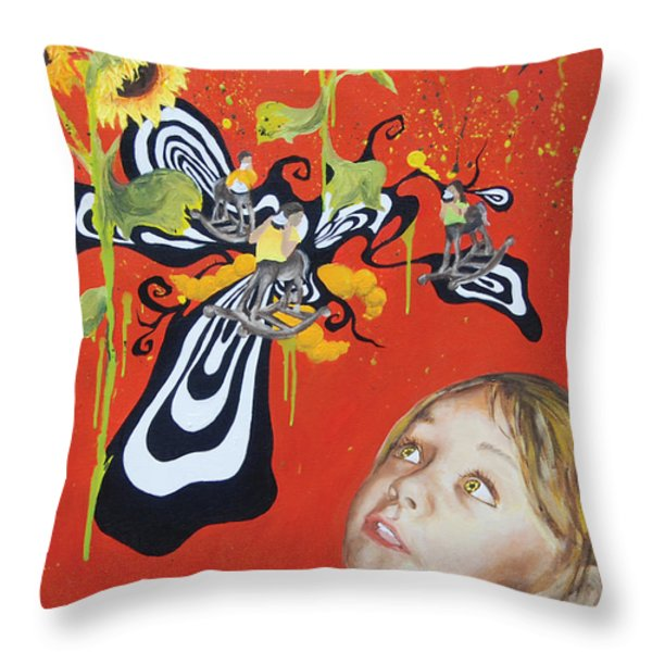 The Girl With Kaleidoscope Eyes Throw Pillow by Jacqueline DelBrocco