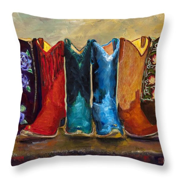 The Girls Are Back In Town Throw Pillow by Frances Marino