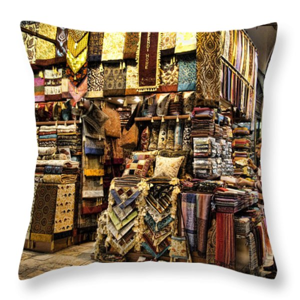 The Grand Bazaar In Istanbul Turkey Throw Pillow by David Smith