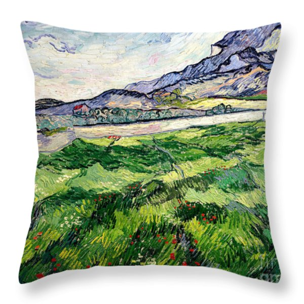 The Green Wheatfield Behind The Asylum Throw Pillow by Vincent van Gogh