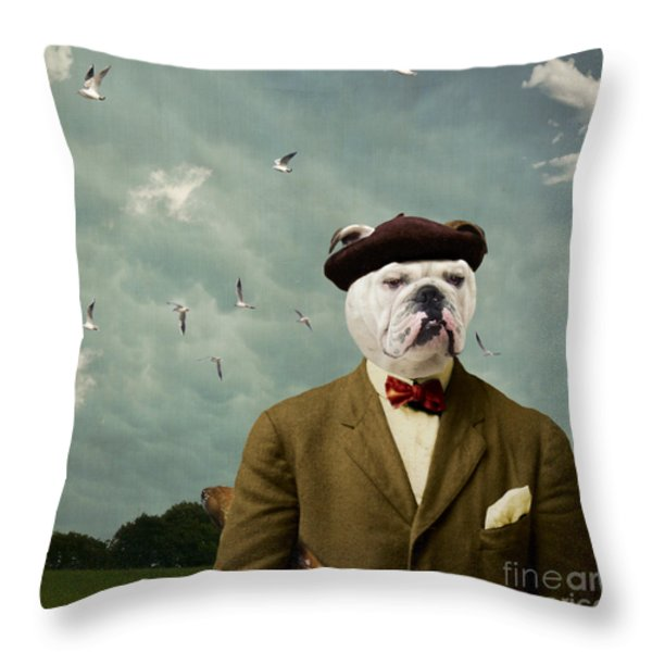 The Grumpy Man Throw Pillow by Martine Roch