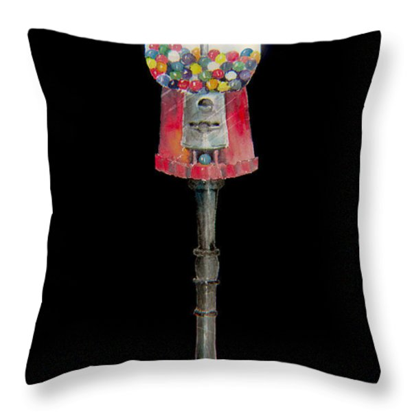 The Gumball Machine Throw Pillow by Arline Wagner