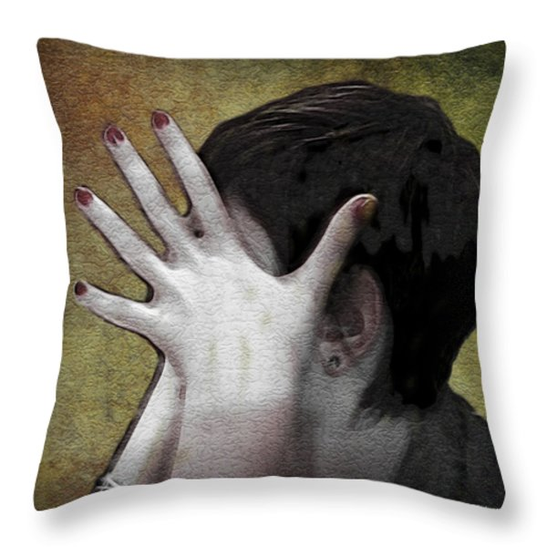 The Hand Throw Pillow by Joan  Minchak