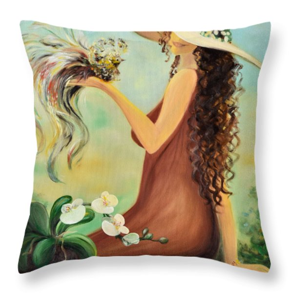 Throw Pillows - The Hand That Doesnt Grasp Throw Pillow by Gina De Gorna