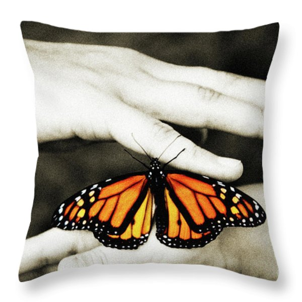 The Hands And The Butterfly Throw Pillow by Andee Design