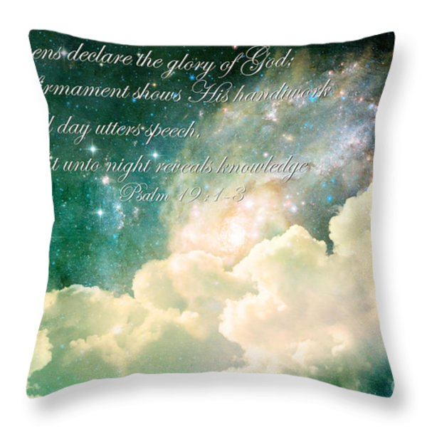 The Heavens Declare Throw Pillow by Stephanie Frey