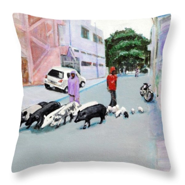 The Herd 5 - Pigs Throw Pillow by Usha Shantharam