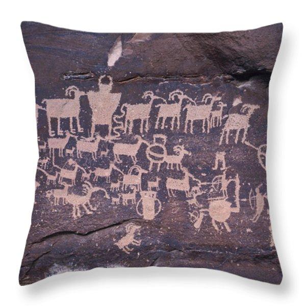 The Hunt Scene- Ancient Pueblo-anasazi Throw Pillow by Ira Block
