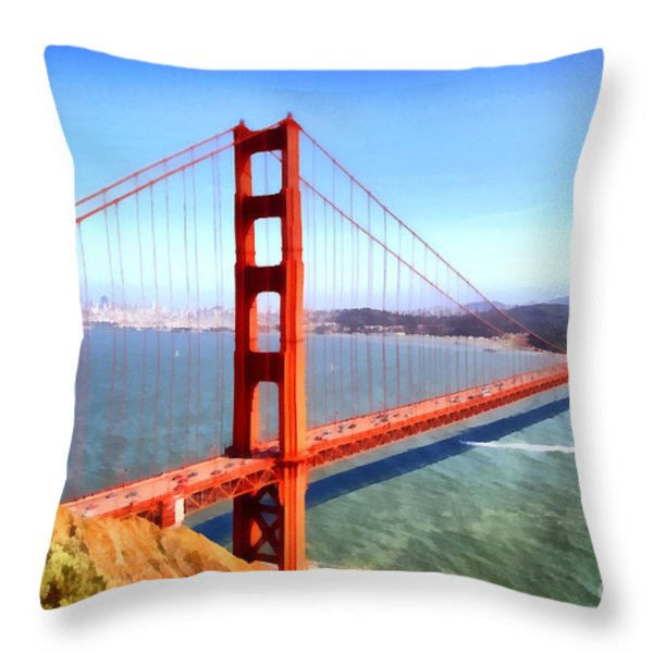 The Iconic San Francisco Golden Gate Bridge . 7d14507 Throw Pillow by Wingsdomain Art and Photography