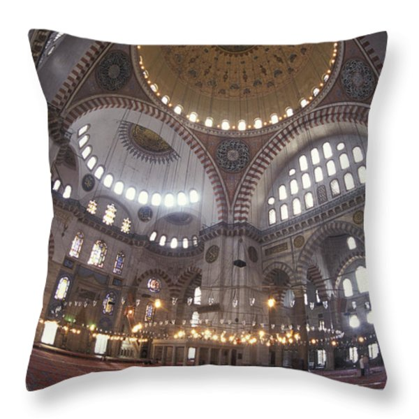 The Interior Of The Suleymaniye Mosque Throw Pillow by Richard Nowitz