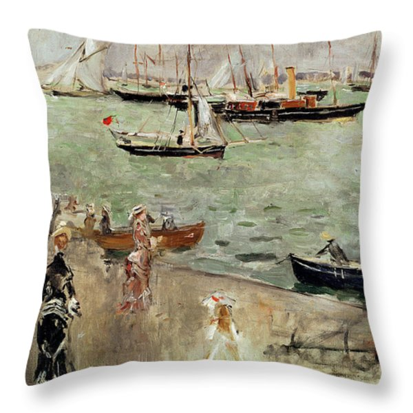 The Isle Of Wight Throw Pillow by Berthe Morisot
