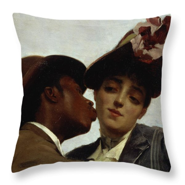 The Kiss Throw Pillow by Theodore Jacques Ralli