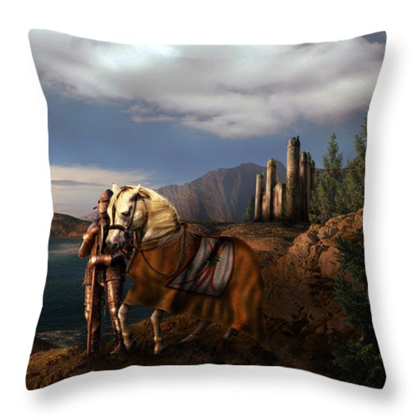 The Knight Of The Kingdom Throw Pillow by Virginia Palomeque