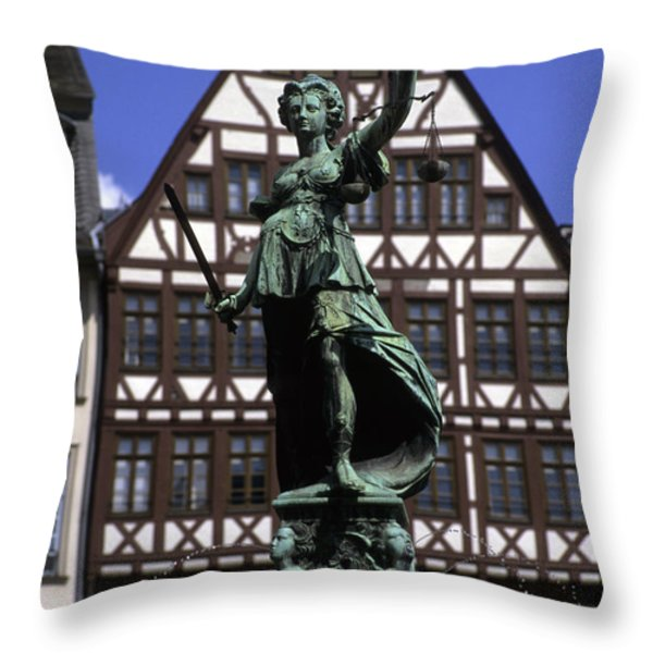 The Lady Of Justice And Her Scales Throw Pillow by Taylor S. Kennedy