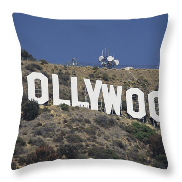 The Landmark Hollywood Sign Throw Pillow by Richard Nowitz