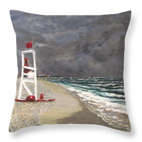 The Last Lifeguard Throw Pillow by Jack Skinner