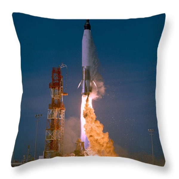The Launch Of The Mercury Atlas Throw Pillow by Stocktrek Images